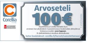 Arvoseteli Corellia Helsingin avoimelle saavutettavuusaiheiselle kurssille, arvoltaan 100 €.