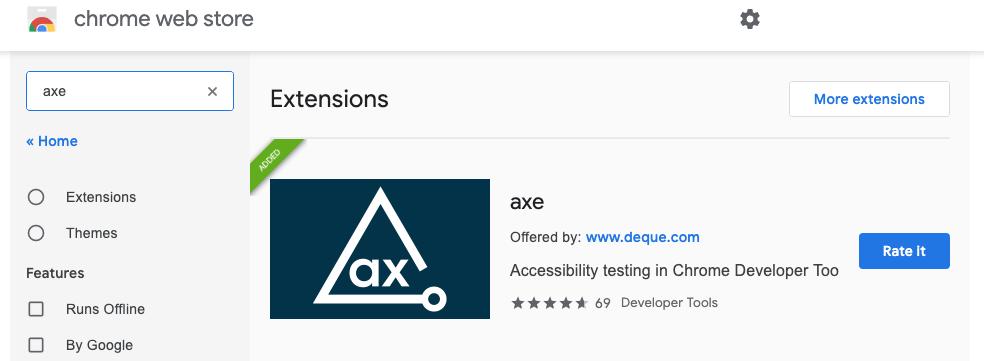 crome web store näkymä, josta ladattavissa axe niminen selainlaajennos.