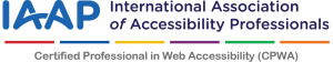 IAAP Certified Professional in web Accessibility logo.